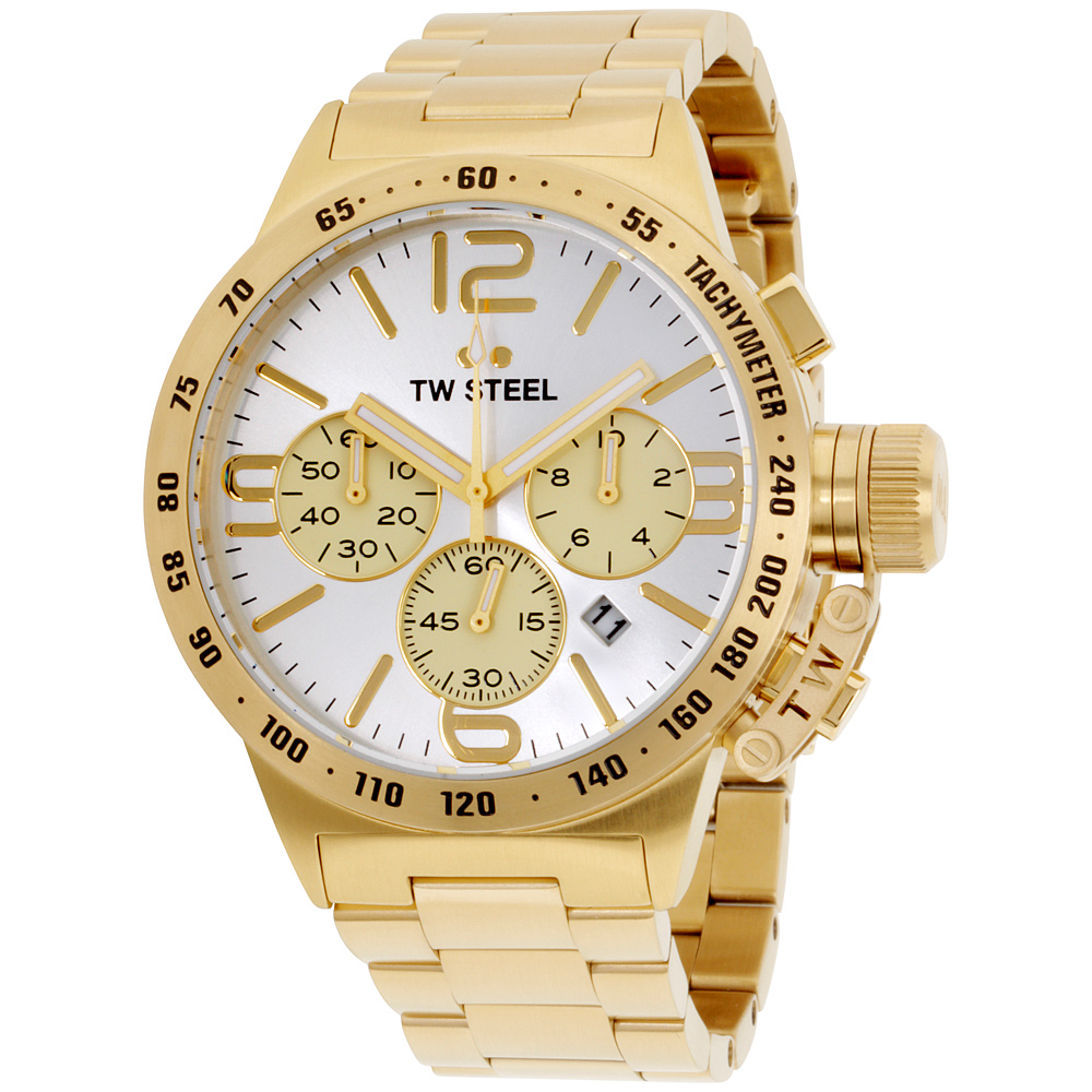 "Image of ""TW Steel Canteen Cb83 Gold Tone Stainless Steel Bracelet Silver Dial"""