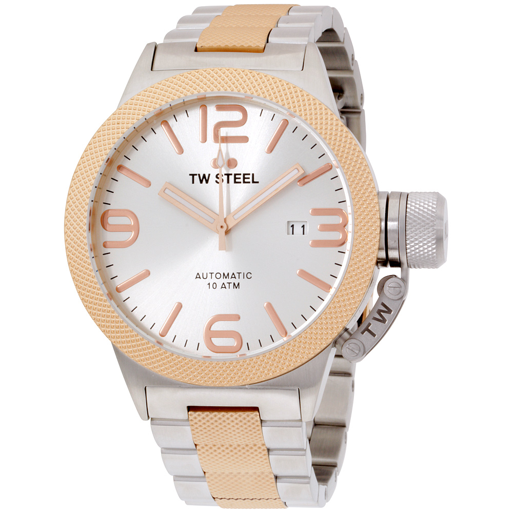"Image of ""TW Steel Canteen Cb125 Stainless Steel & Rose Gold Plated 45mm Mens"""