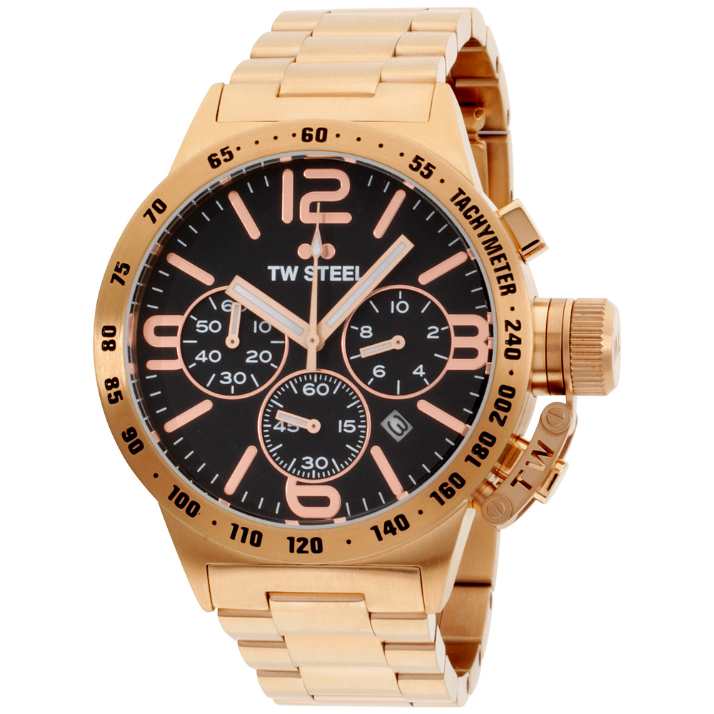 "Image of ""TW Steel Canteen Cb173 Rose Gold Tone Stainless Steel Quartz 45mm Mens"""