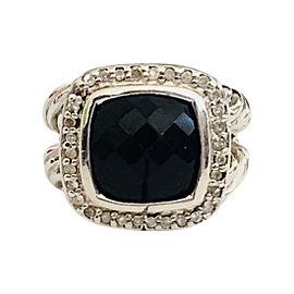 David Yurman 11MM Albion Sterling Silver Onyx and Diamond Ring