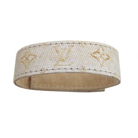 Louis Vuitton Silver Tone Metal Canvas Bracelet