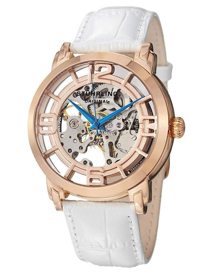"Image of ""Stuhrling Winchester 165B2.334P14 Rose-Tone Stainless Steel & Leather"""