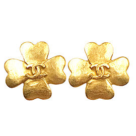 Chanel 24K Gold Plated Clover CC Clip on Earrings