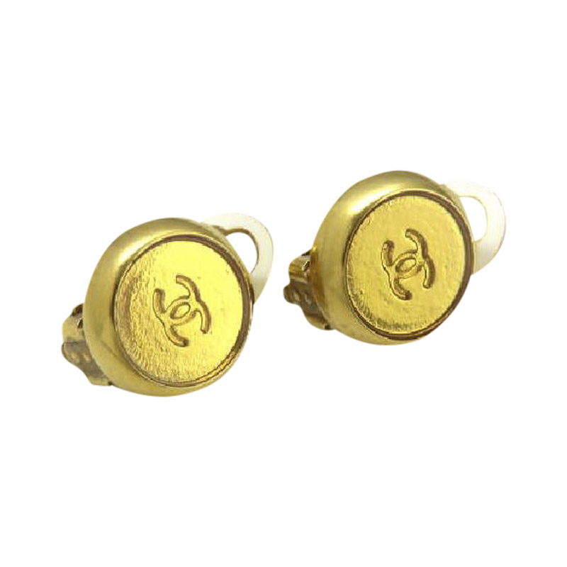 "Image of ""Chanel 99A CC Gold Tone Metal Earrings"""