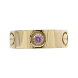 Cartier Love 18K Rose Gold with Pink Sapphire Ring Size 4