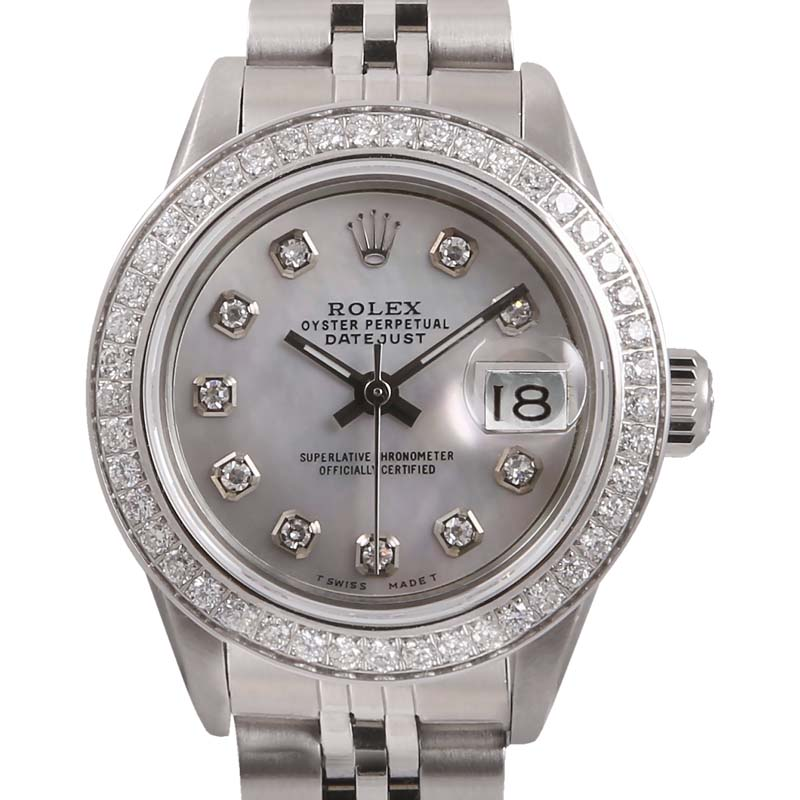 """Image of """"Rolex Datejust Stainless Steel & White Mother Of Pearl Diamond Dial"""""""