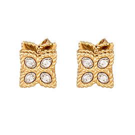 Roberto Coin 18K Yellow Gold 0.07ct Diamond Princess Flower Earrings