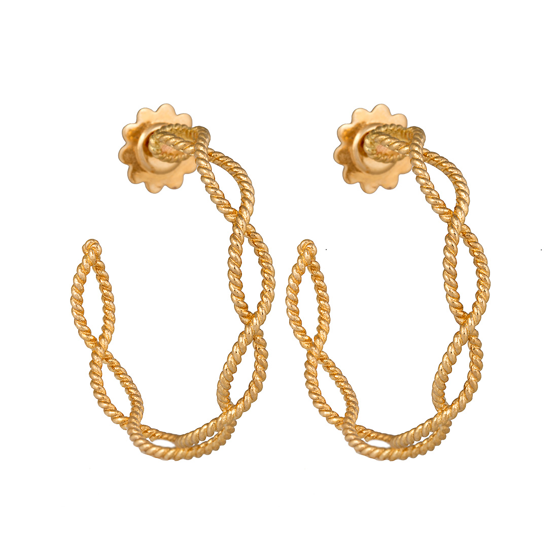 "Image of ""Roberto Coin 18K Yellow Gold Princess Flower 3 Tiered Dangle Earrings"""