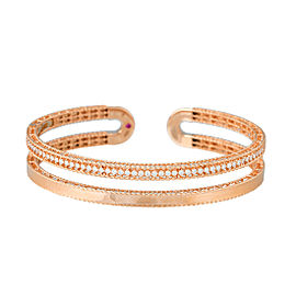 Roberto Coin Symphony Princess 18K Rose Gold 0.64ct Diamond Bangle Bracelet
