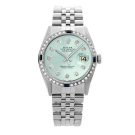 Rolex Datejust 16014 Stainless Steel & 18K White Gold Ice Blue Diamond/Sapphire Mens Watch