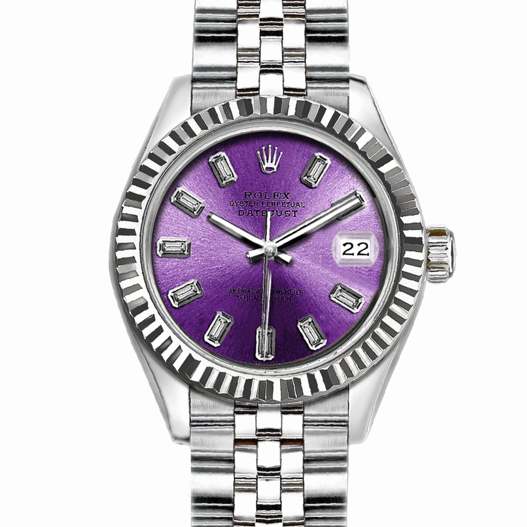 "Image of ""Rolex Datejust Stainless Steel with Purple Dial 36mm Mens Watch"""