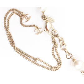 Chanel Yellow Gold Twisted CC Two Strand Faux Pearl Necklace