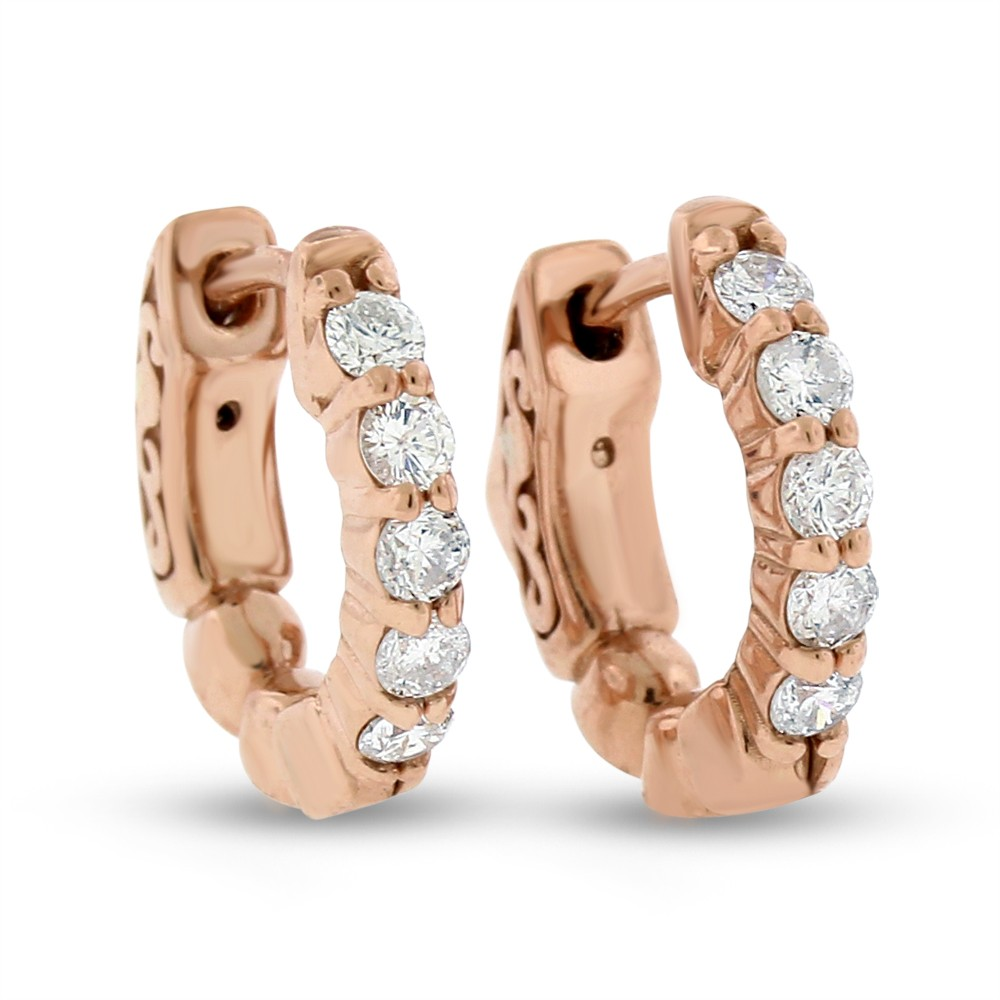 "Image of ""14k Rose Gold 0.42 Ct. Natural Diamond Small Hoop Huggie Earrings"""