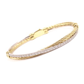 David Yurman 18K Yellow and White Gold 0.50 Ct Diamond Cable Crossover Bracelet