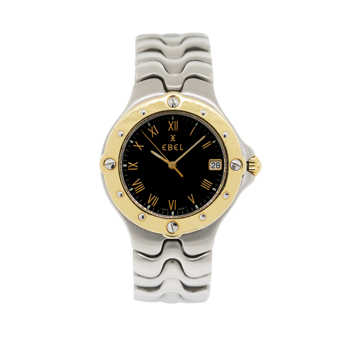 "Image of ""Ebel Sport Wave Two Tone 18K Yellow Gold & Stainless Steel Black Dial"""
