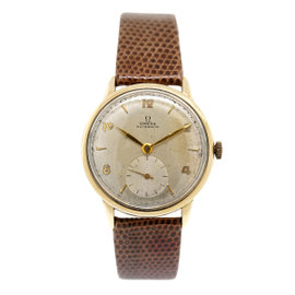 Omega Champagne Dial Automatic Leather Band 34mm Womens Watch