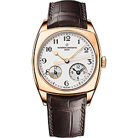 Vacheron Constantin Harmony Dual Time 7800S/000R-B140 18K Rose Gold with Silver Dial 37mm Mens Watch