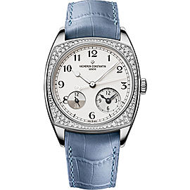 Vacheron Constantin Harmony Dual Time 7805S/000G-B155 18K White Gold and Leather with Silver Dial 37mm Mens Watch