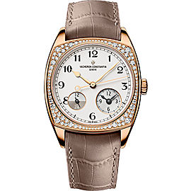 Vacheron Constantin Harmony Dual Time 7805S/000R-B140 18K Rose Gold with Silver-Tone Dial 37mm Mens Watch