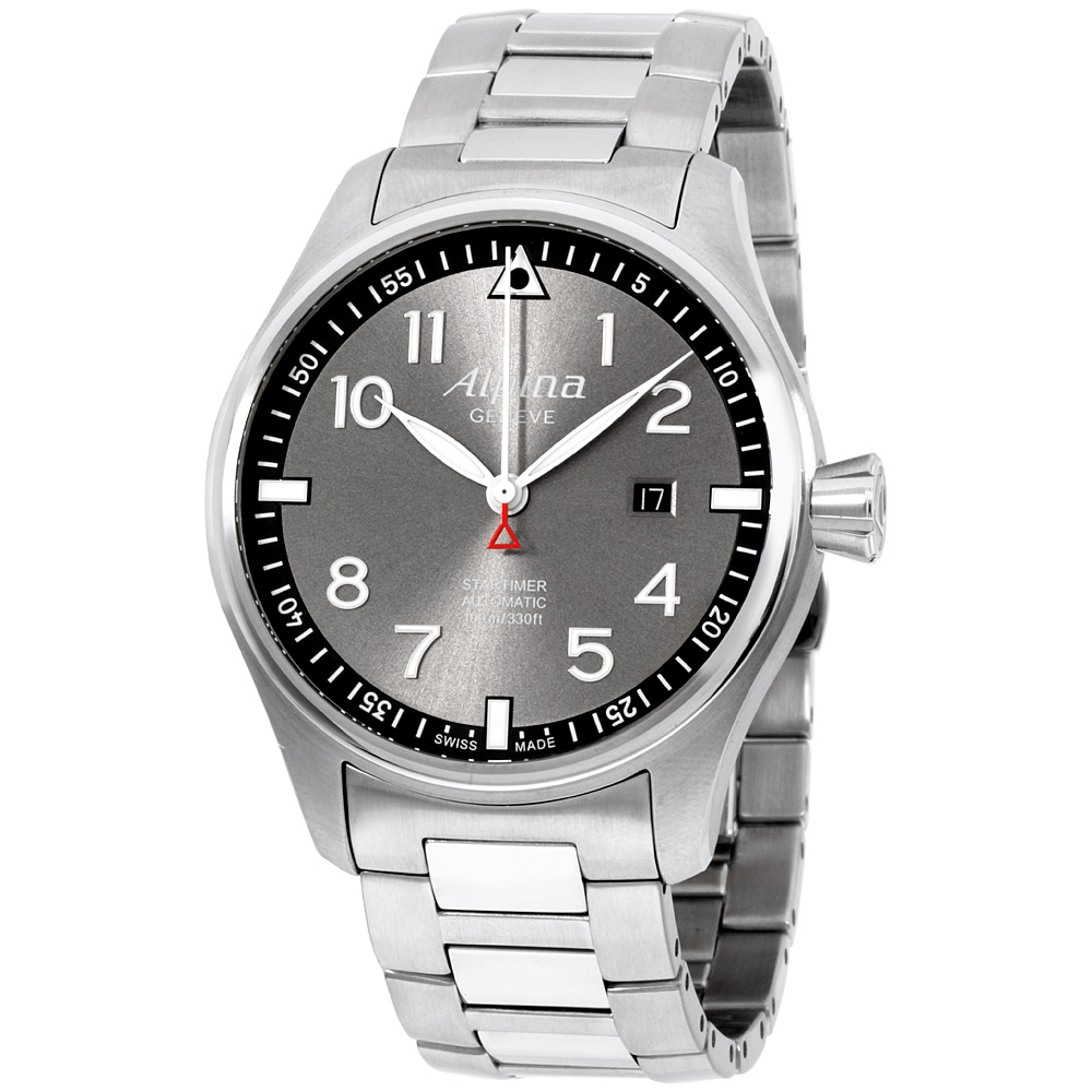 "Image of ""Alpina Sartimer Pilot Al525Gb4S6 Grey Dial Stainless Steel 44mm Mens"""