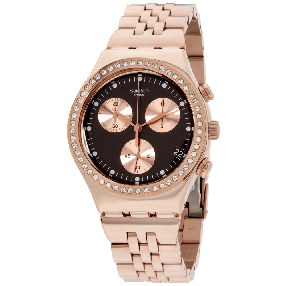 "Image of ""Swatch Irony Ycg414G Rose Gold Tone Stainless Steel Quartz 40mm Womens"""
