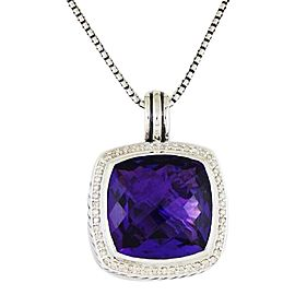 David Yurman Albion Sterling Silver Amethyst Diamonds Pendant