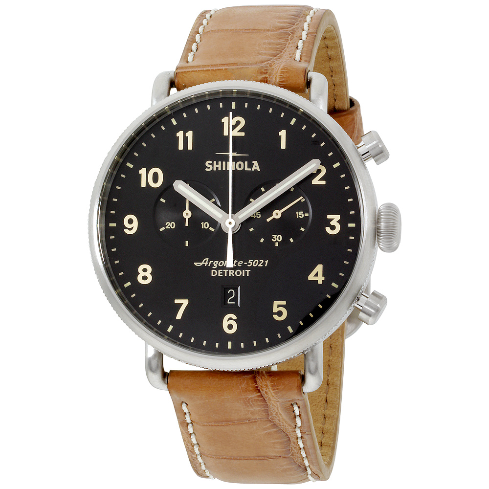 "Image of ""Shinola 20001942 Stainless Steel & Leather Quartz 43mm Mens Watch"""