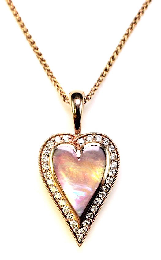 "Image of ""Kabana 14K Rose Gold with 0.39ct Diamonds & Pink Mother of Pearl Heart"""