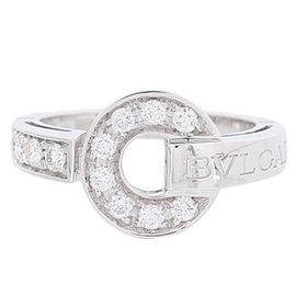 Bulgari 18K White Gold Diamond Bulgari Bulgari Ring Size 4.25