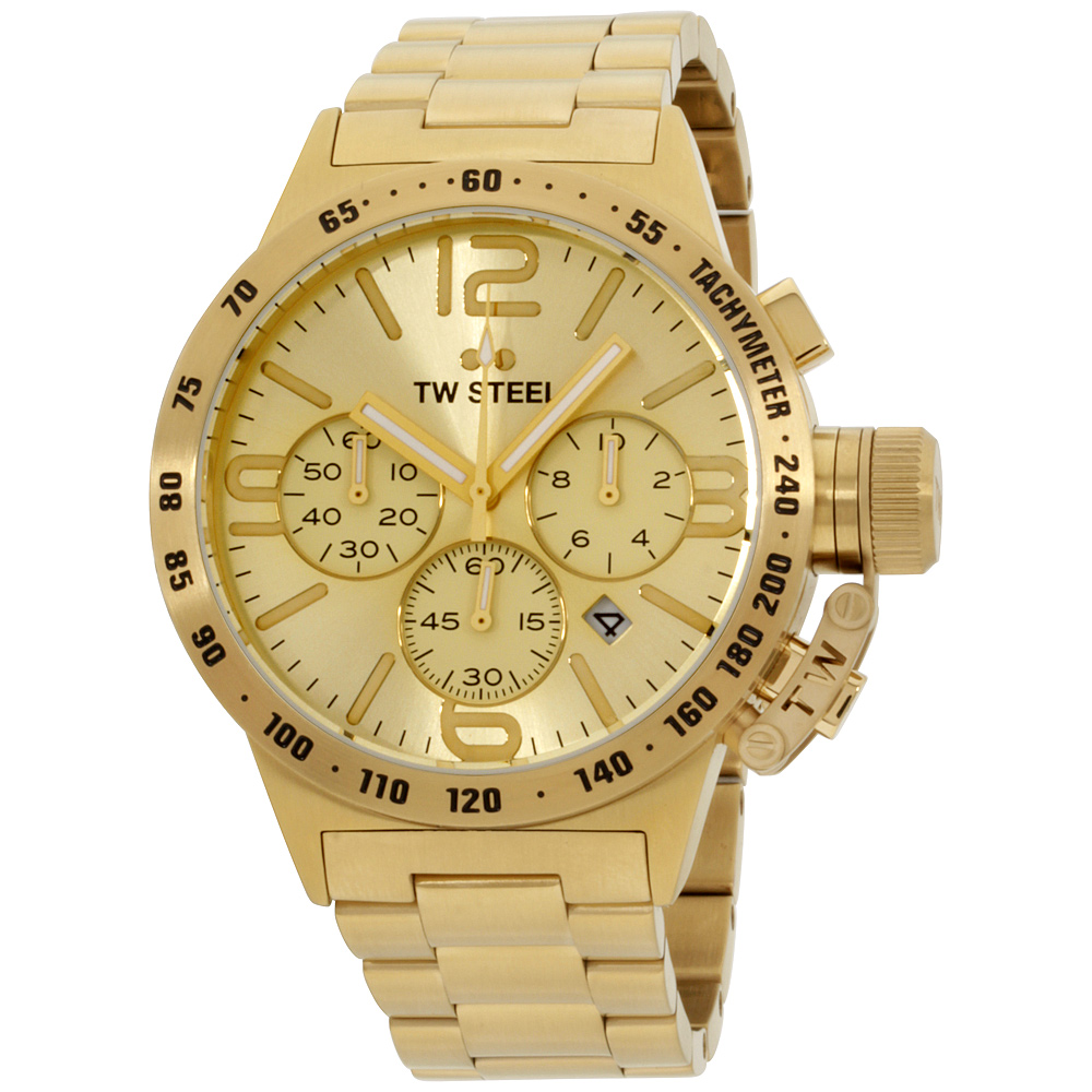 "Image of ""TW Steel Canteen Cb103 Gold-Tone Stainless Steel Quartz 45mm Mens"""