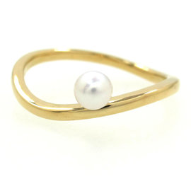 Mikimoto 18K Yellow Gold Pearl Ring Size 6.75