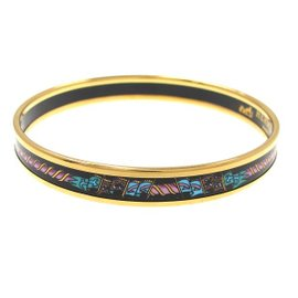 Hermes Gold-Tone Muticolor Bangle Bracelet