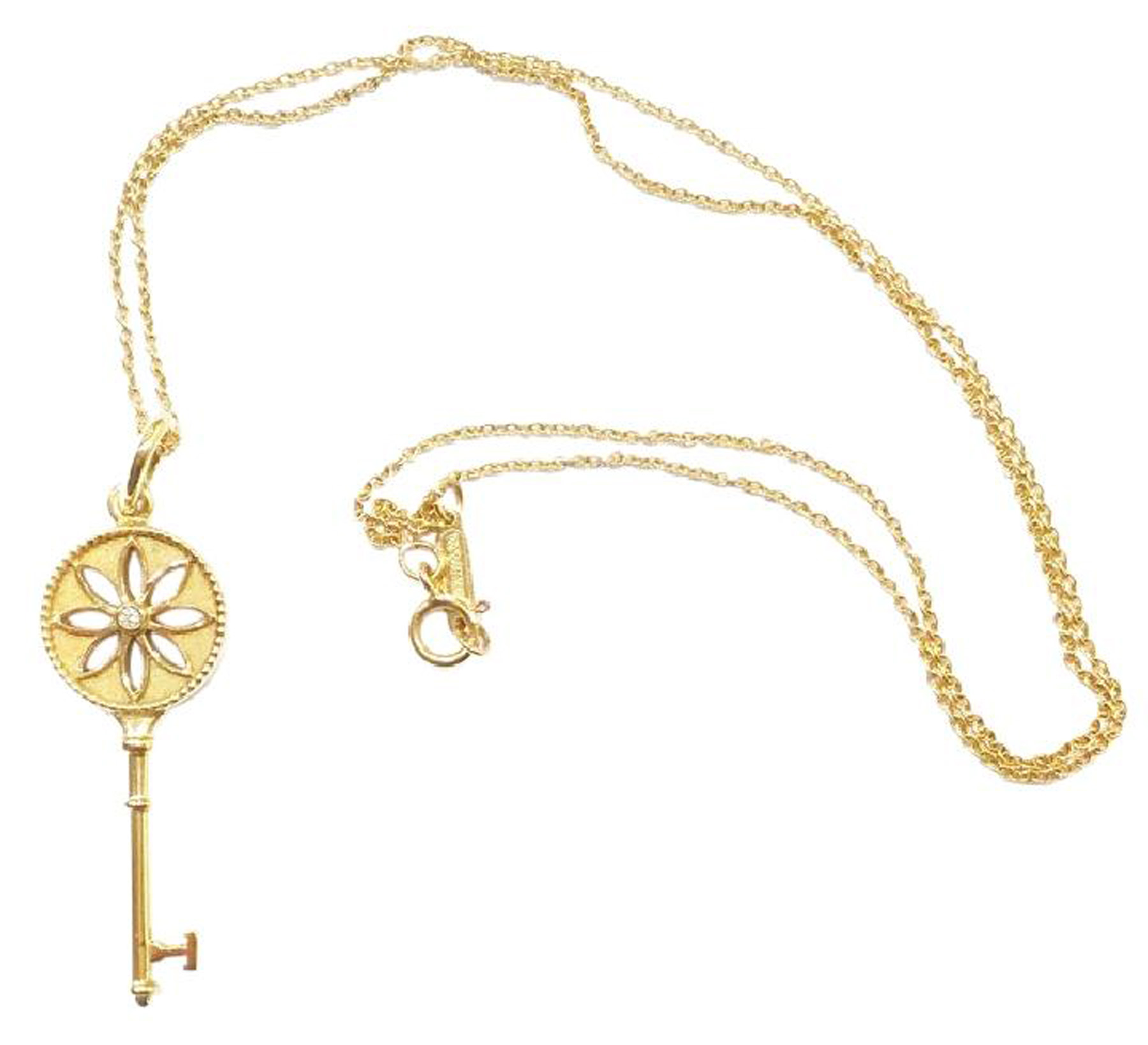 "Image of ""Tiffany & Co. 18K Yellow Gold Diamond Small Daisy Key Pendant Necklace"""
