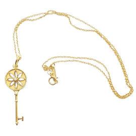Tiffany & Co. 18K Yellow Gold Diamond Small Daisy Key Pendant Necklace