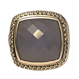 David Yurman Albion 925 Sterling Silver Chalcedony & 0.43ct Diamond Ring Size 6