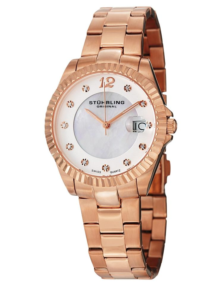 """Image of """"Stuhrling Clipper 498.11447 Rose-Tone Stainless Steel & MOP 35mm Watch"""""""