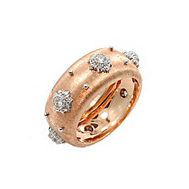 Buccellati 18K Rose Gold & Diamond Band Ring Size 6