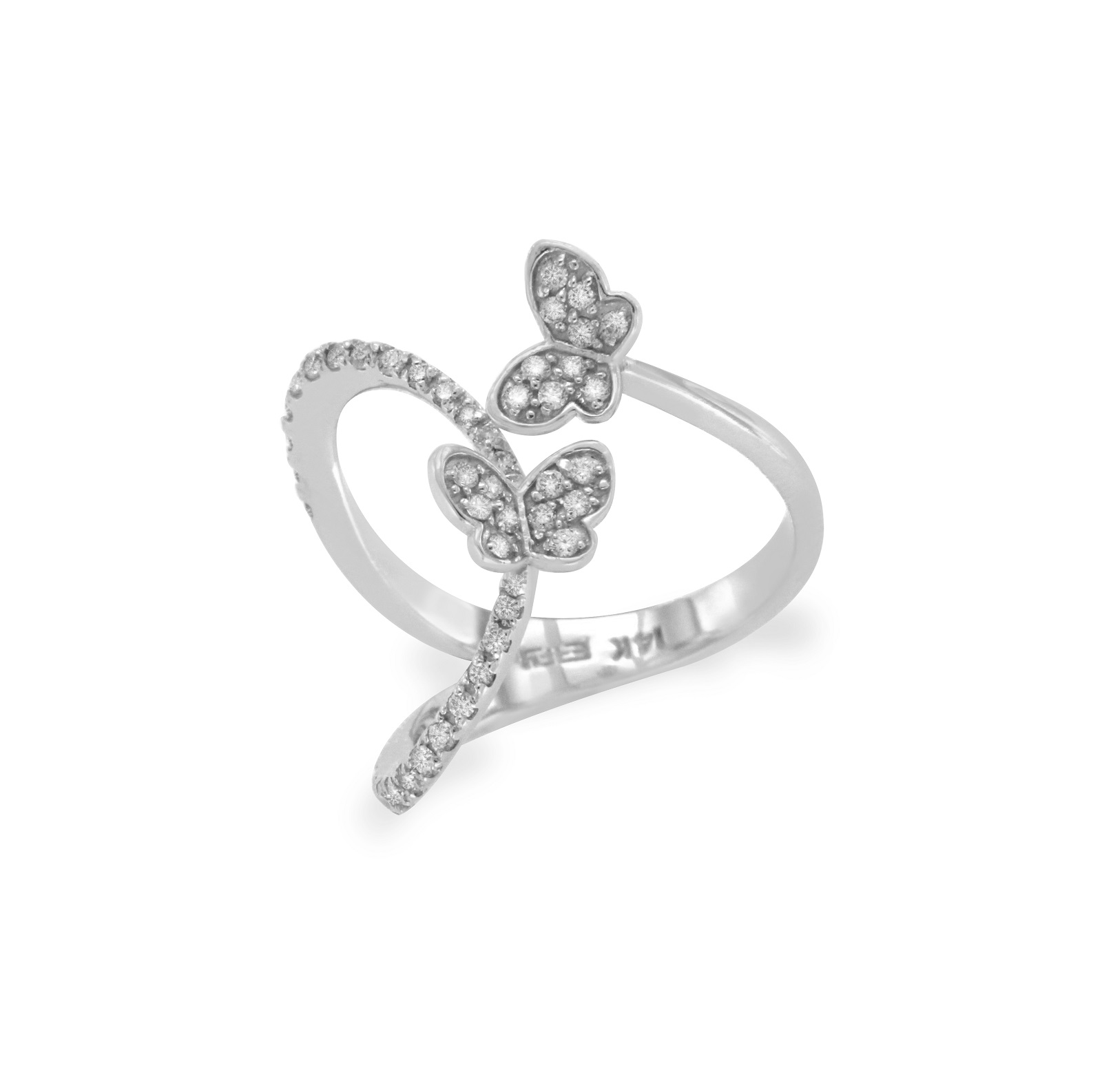 "Image of ""Effy 14K White Gold & Diamond Butterfly Ring Size 7.5"""