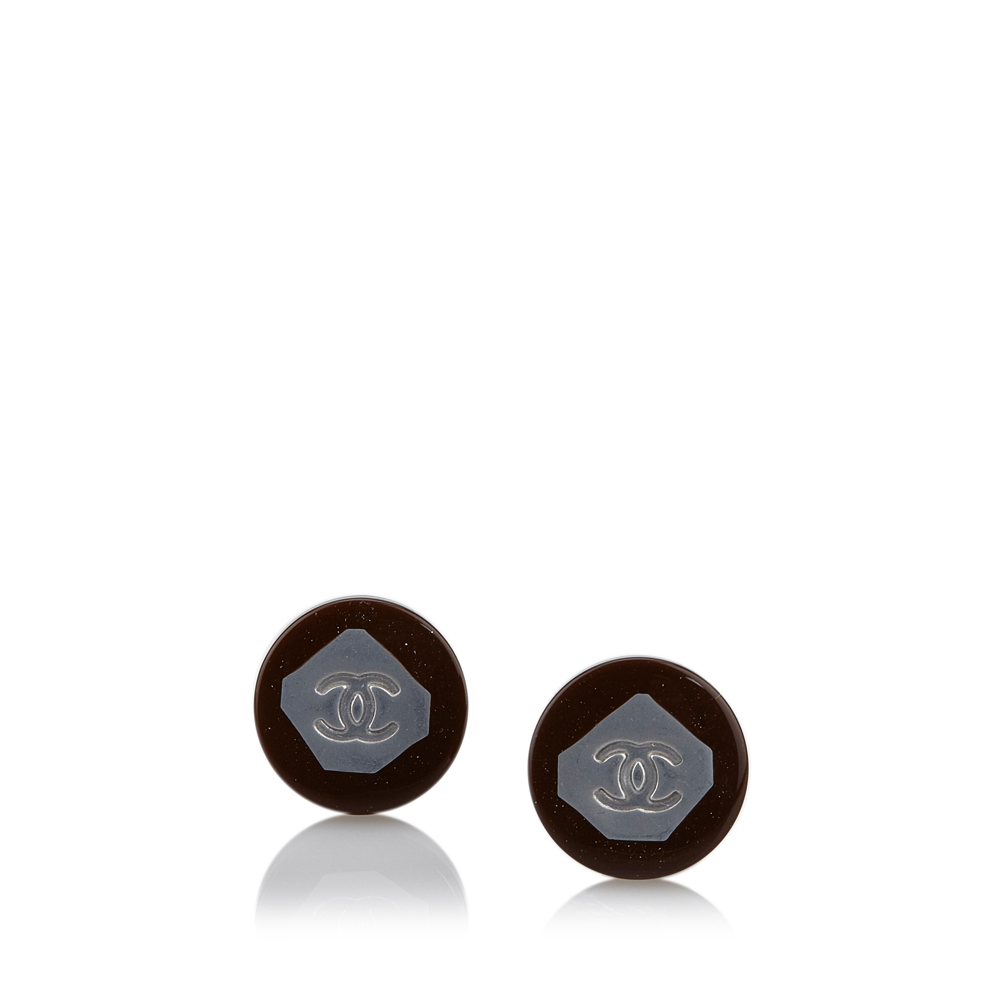 "Image of ""Chanel Plastic & Resin Round CC Earrings"""