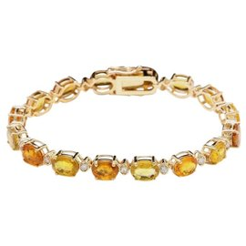 14K Yellow Gold 30.00ct Sapphire and Diamond Bracelet
