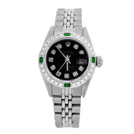Rolex Datejust 6917 Stainless Steel & Black Diamond Dial 26mm Womens Watch