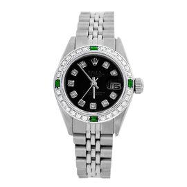 Rolex Datejust 6917 Stainless Steel & Black Diamond Dial 26mm Womens Watch