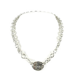 Tiffany & Co. 925 Sterling Silver Return to Tiffany Oval Tag Necklace