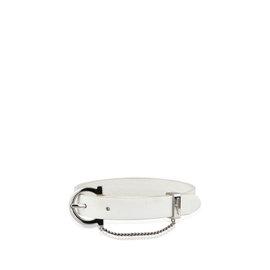 Ferragamo Gancini Leather & Silver Tone Metal Bracelet