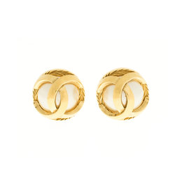 Chanel CC Logo Button Earrings