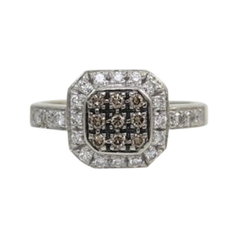 "Image of ""LeVian 14K White Gold .55 ctw Chocolate & White Diamond Ring Size 7"""