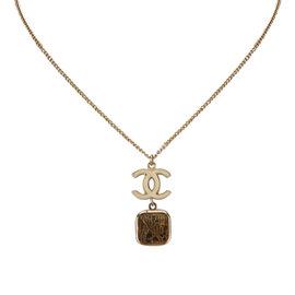 Chanel Gold Tone Metal CC Pendant Necklace