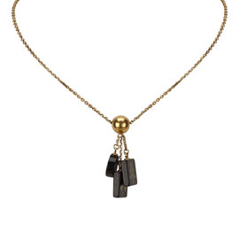 Chanel Gold Tone Metal CC Charm Necklace