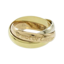 Cartier 18K Yellow White and Pink Gold Trinity Ring Size 4.5