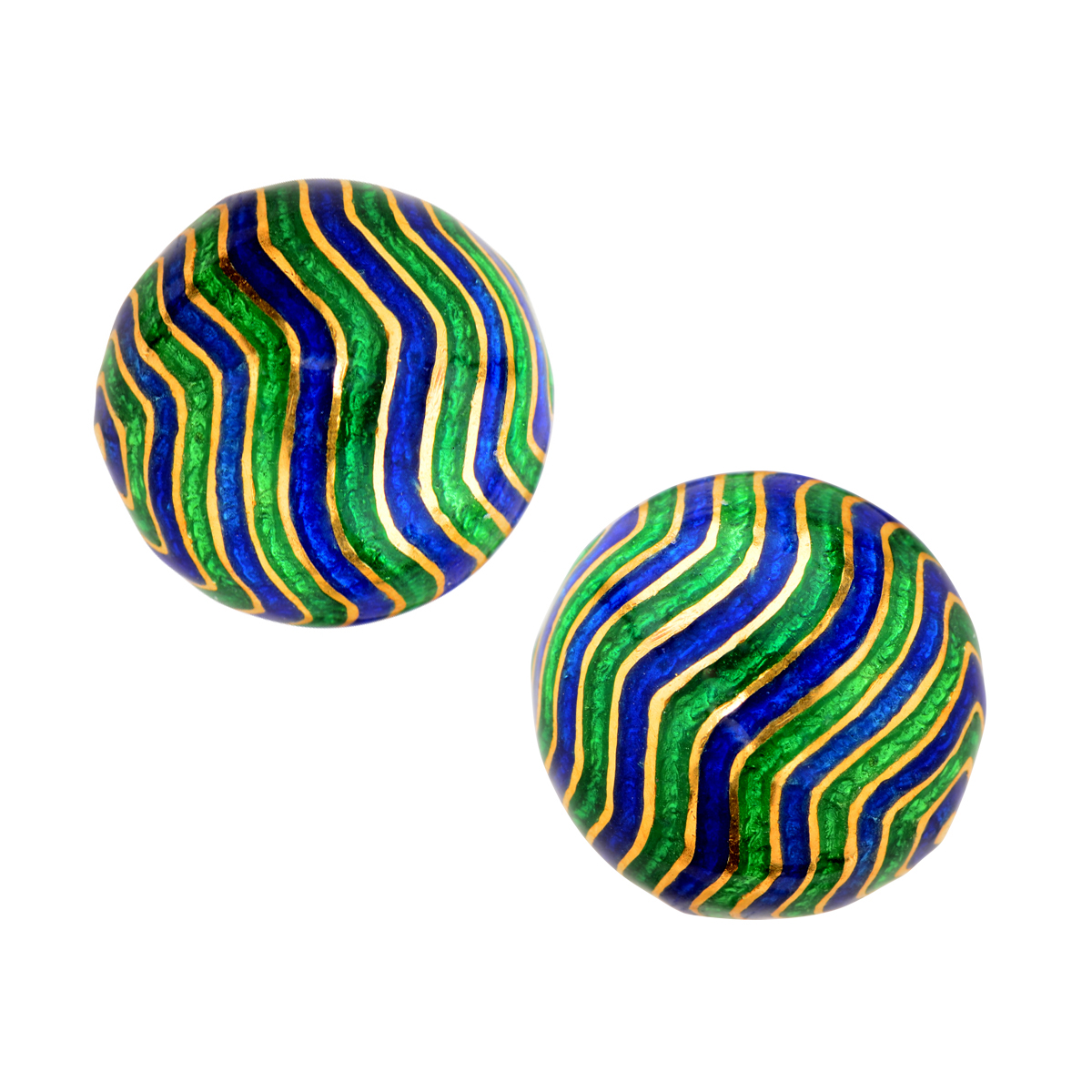 "Image of ""David Webb Enamel & 18K Yellow Gold Earrings"""